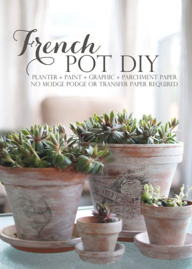 French Country Decor Ideas - DIY Printed Graphics on Whitewashed Terracotta Pots - Cabritonyc.com