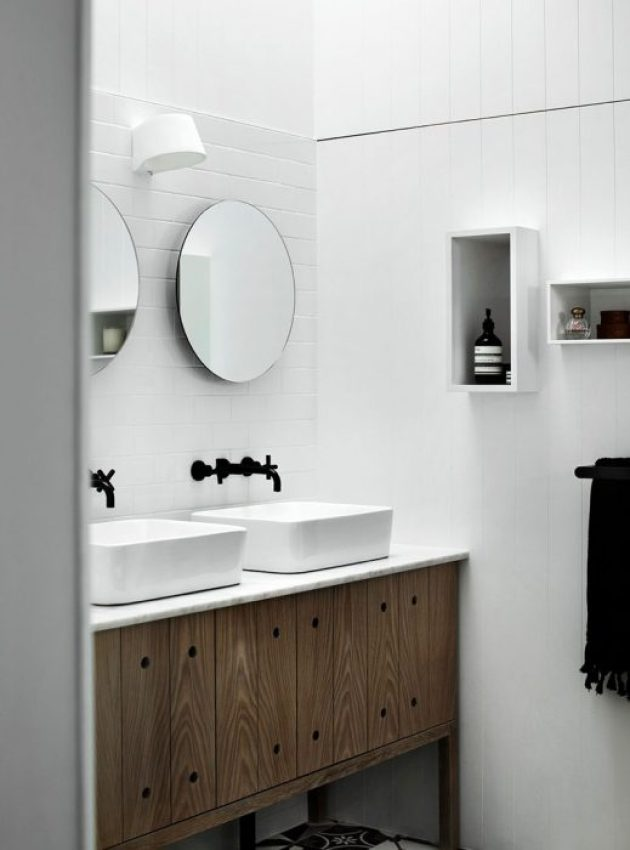 Bathroom Mirror Ideas - Two Round Mirrors 1 - Cabritonyc.com