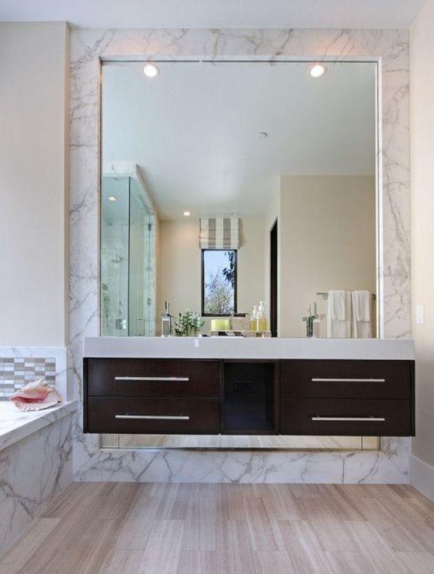 Contemporary Bathroom Mirror Ideas Set in Marble