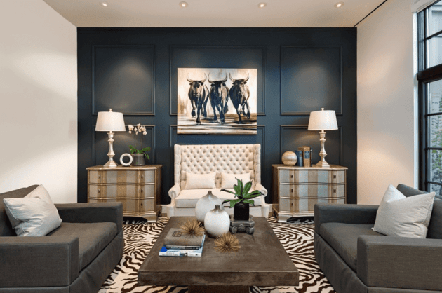 Accent Wall Ideas - Deep Blue Living Room - harpamagazine.com