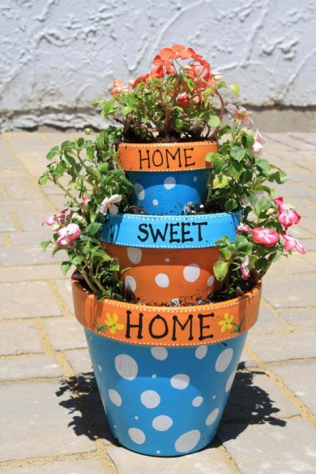 Front Door Flower Pots Ideas - Home Sweet Home Tiered Flower Pot Planter - Cabritonyc.com