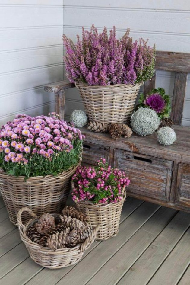 Front Door Flower Pots Ideas - Pretty Wicker Basket Flower Pots - Cabritonyc.com