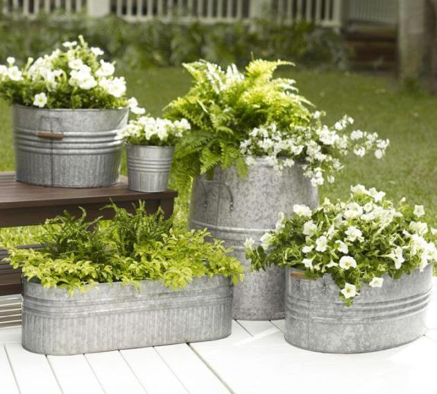 Front Door Flower Pots Ideas - Galvanized Metal Flower and Fern Planters - Cabritonyc.com