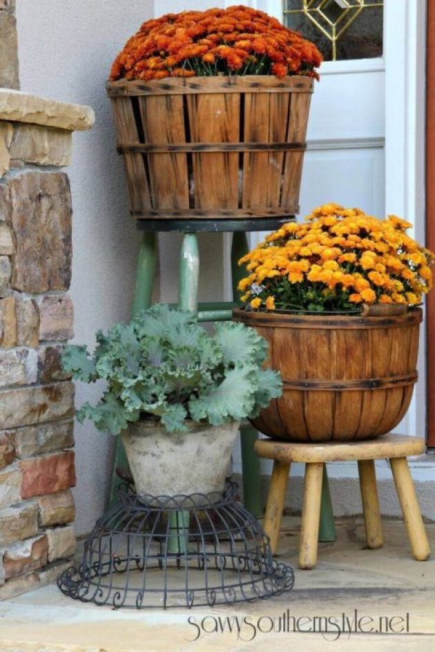 Front Door Flower Pots Ideas - Fruit Basket Fall Mum Planters - Cabritonyc.com