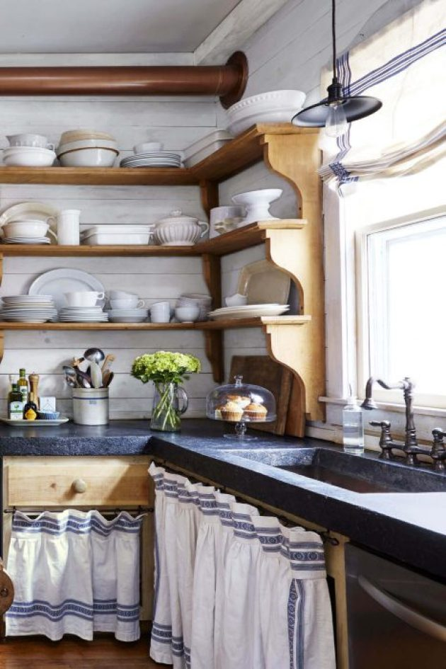 Farmhouse Kitchen Decor Design Ideas - Country Blue and White Linen Cabinet Curtains - Cabritonyc.com