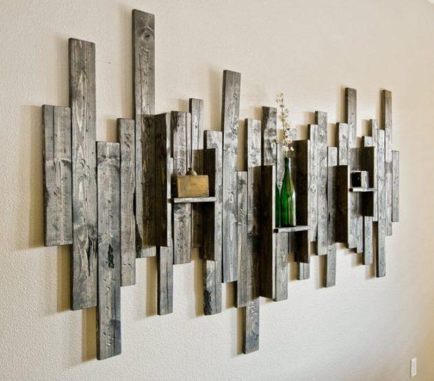 Rustic Wall Decor Ideas - Abstract Wall Art and Shelf from Rustic Barn Wood - Cabritonyc.com