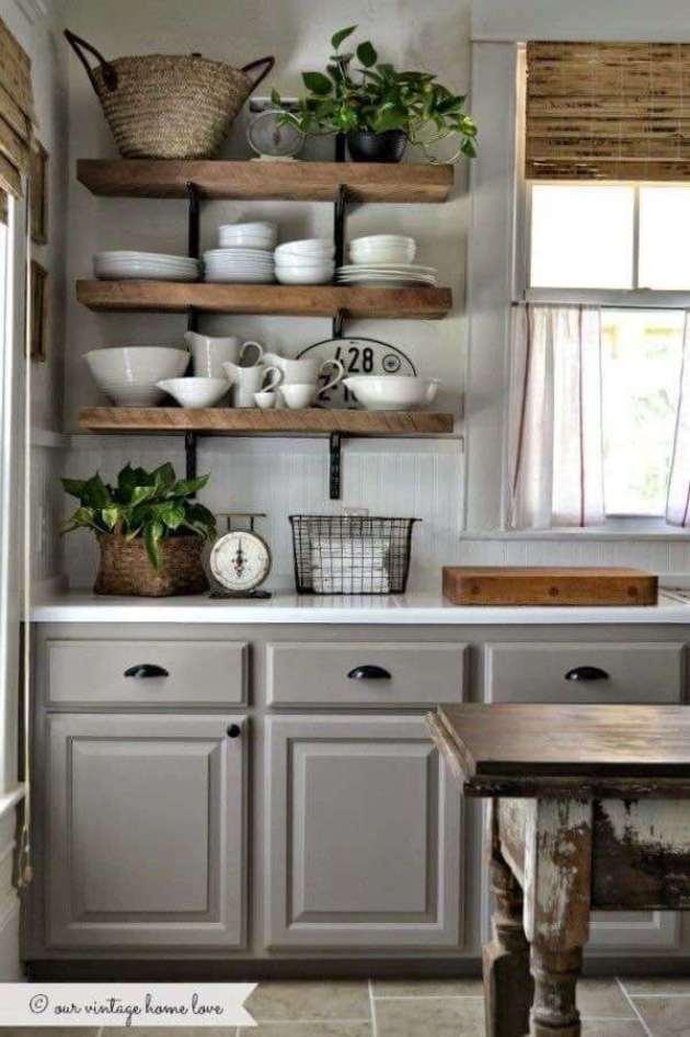 Farmhouse Kitchen Decor Design Ideas - Farmhouse Gray, Country White and Warm Wood Accents - Cabritonyc.com