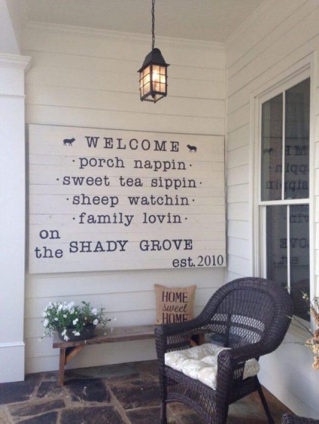 Farmhouse Porch Decorating Ideas - Quaint & Quirky Porch Welcome Sign - Cabritonyc.com