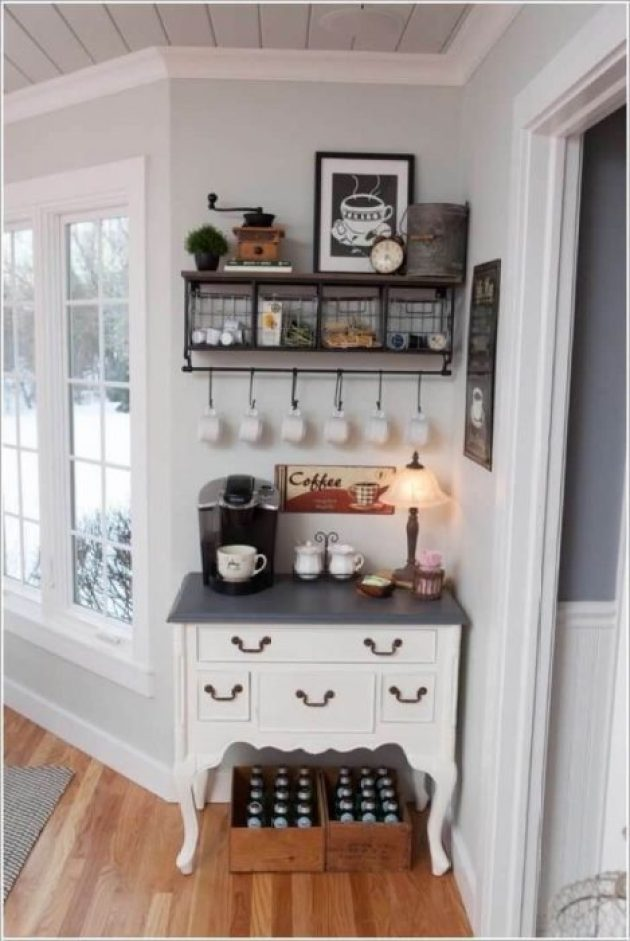 Farmhouse Kitchen Decor Design Ideas - Cozy Country White Coffee Nook - Cabritonyc.com