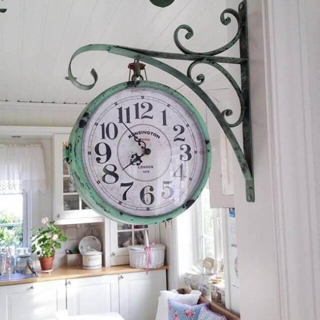 Farmhouse Kitchen Decor Design Ideas - Vintage Hanging Pharmacy Clock in Weathered Copper - Cabritonyc.com