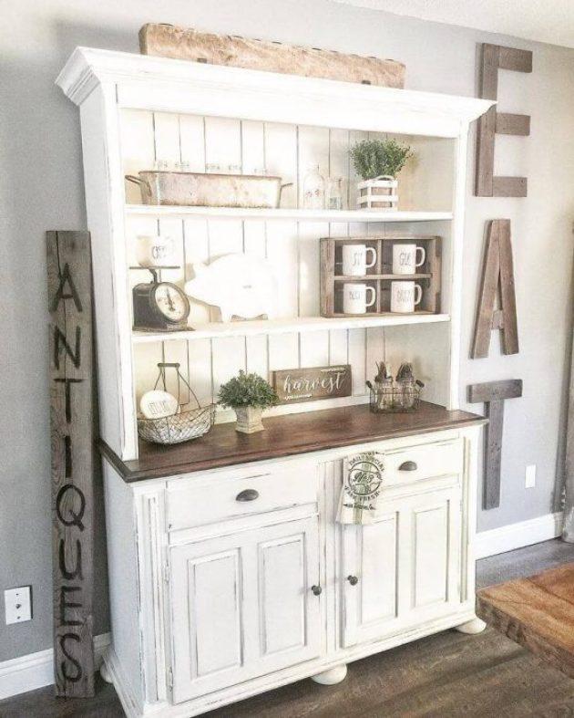 Farmhouse Kitchen Decor Design Ideas - Farmhouse Kitchen Baker's Hutch - Cabritonyc.com