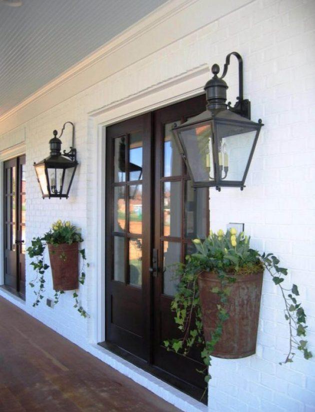 Farmhouse Porch Decorating Ideas - Old New Orleans Entryway Planters & Lanterns - Cabritonyc.com