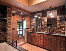 Rustic Bathroom Decor Ideas Masculine Bath with Dark Stone and Walk-in Shower