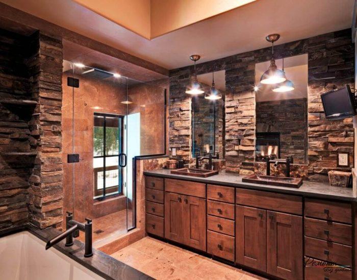 Rustic Bathroom Decor Ideas Masculine Bath with Dark Stone and Walk-in Shower