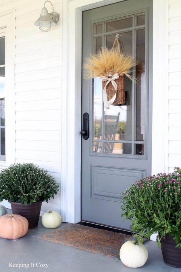 Farmhouse Porch Decorating Ideas - Prairie Estate Robin's Egg Door & Crafted Basket - Cabritonyc.com