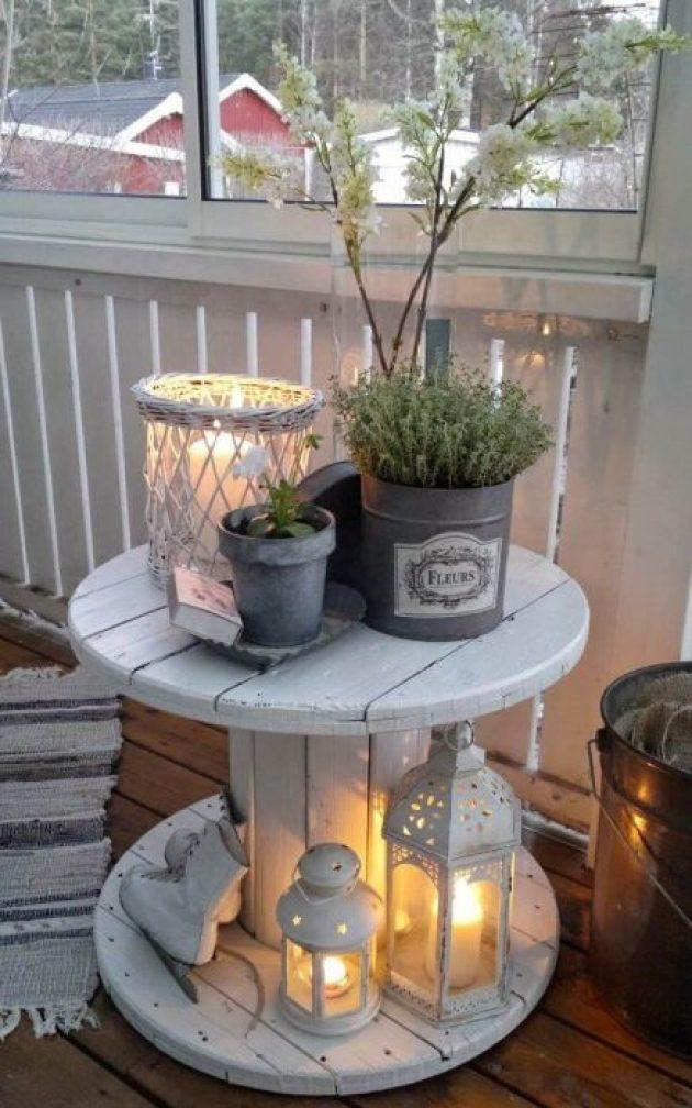 Farmhouse Porch Decorating Ideas - Enchanted Repurposed Spool Table - Cabritonyc.com