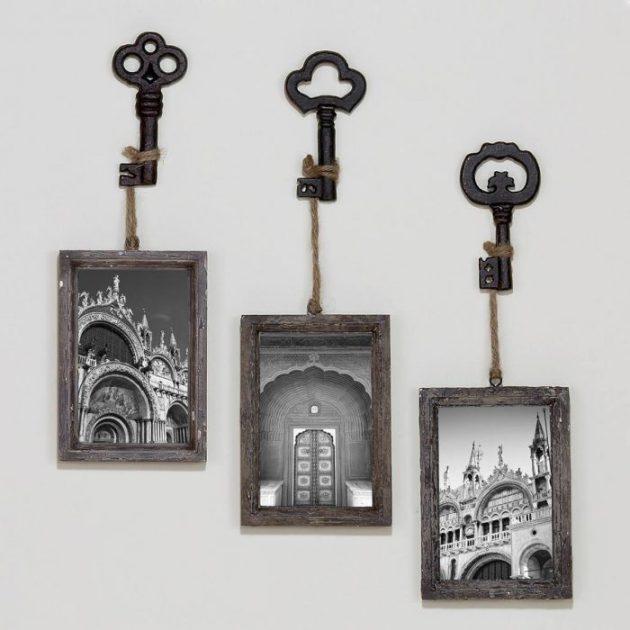 Rustic Wall Decor Ideas - Monochromatic Skeleton Key Photo Hooks - Cabritonyc.com