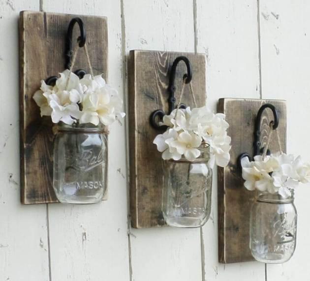Farmhouse Kitchen Decor Design Ideas - Suspended Mini-Mason Jar Bud Vase Trio - Cabritonyc.com