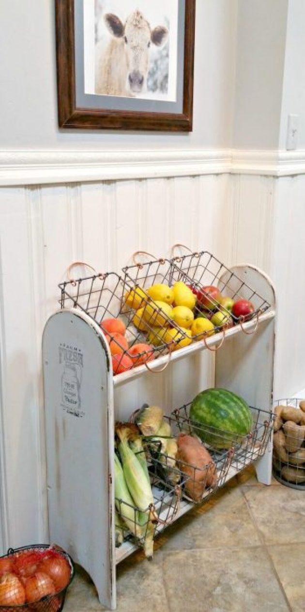 Farmhouse Kitchen Decor Design Ideas - Antique Produce Shelf with Wire Baskets - Cabritonyc.com