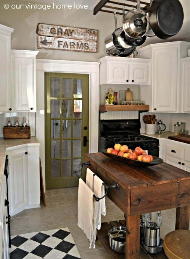 Farmhouse Kitchen Decor Design Ideas - Dark Wood Work Bench Kitchen Island - Cabritonyc.com