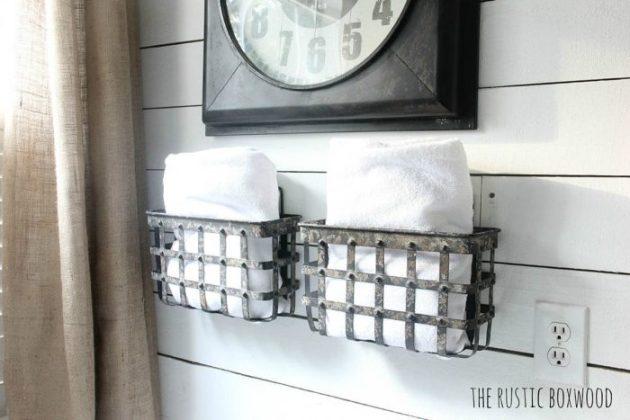 Farmhouse Bathroom Decor Ideas - Wall Mounted Metal Baskets for Storage - Cabritonyc.com