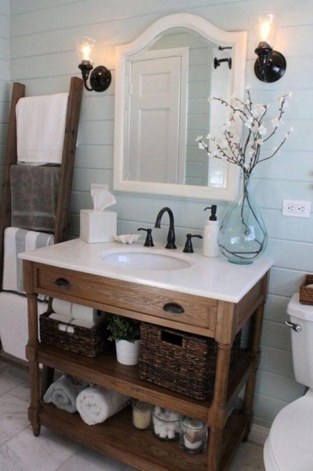 Rustic Bathroom Decor Ideas - Cottage Bath with Painted Shiplap and Vintage Hardware - Cabritonyc.com