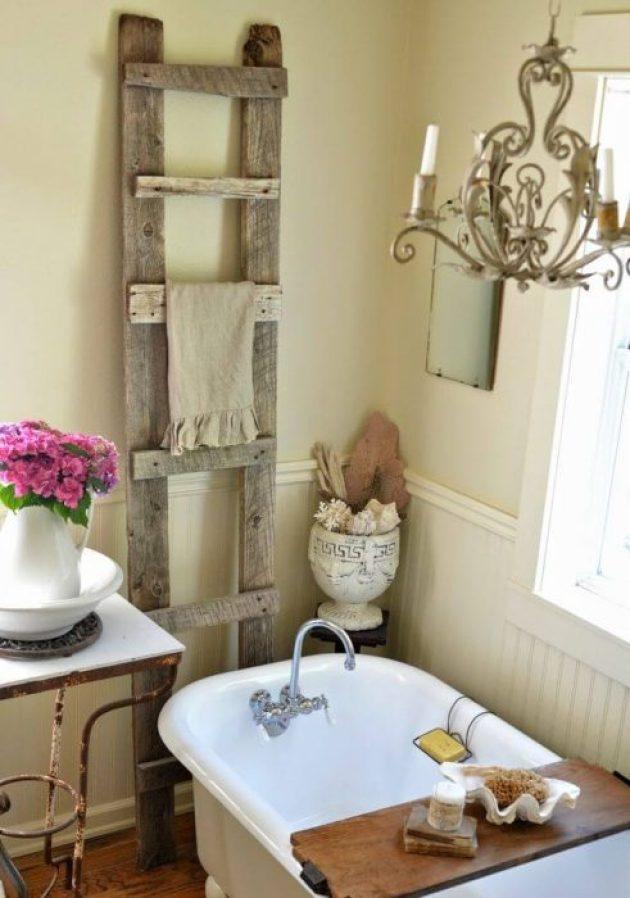 Farmhouse Bathroom Decor Ideas - Antique Wood Ladder Towel Rack - Cabritonyc.com