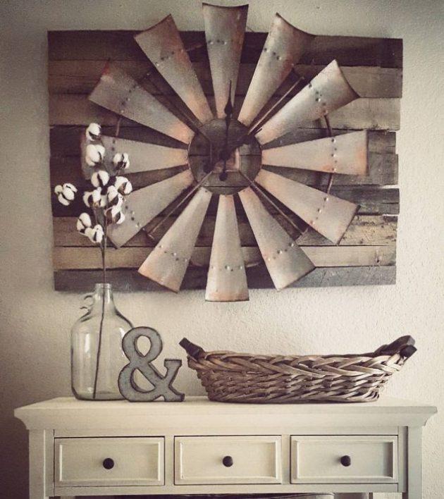 Rustic Wall Decor Ideas - Over-sized Windmill and Barn Wood Wall Clock - Cabritonyc.com