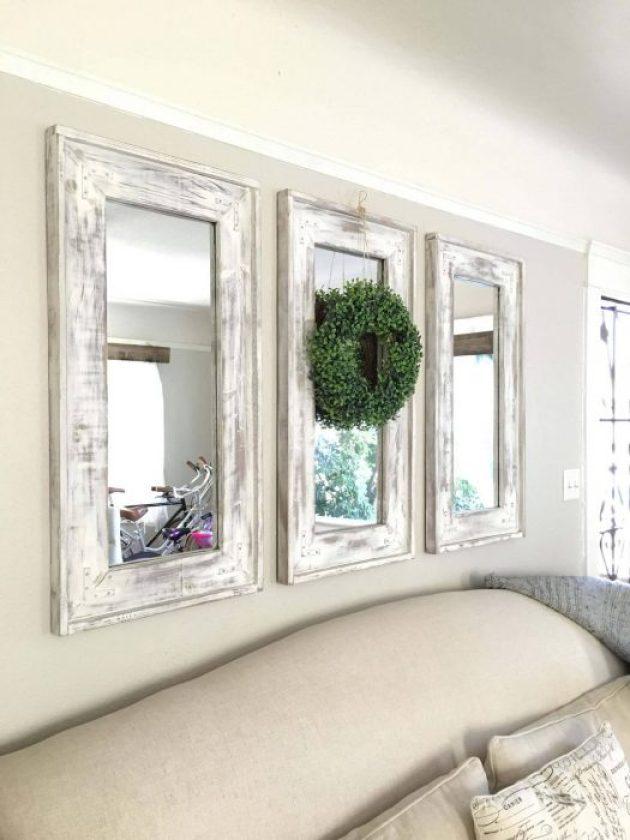 Farmhouse Kitchen Decor Design Ideas - Triad of Narrow Whitewashed Mirrors Accented with Eucalyptus Wreath - Cabritonyc.com