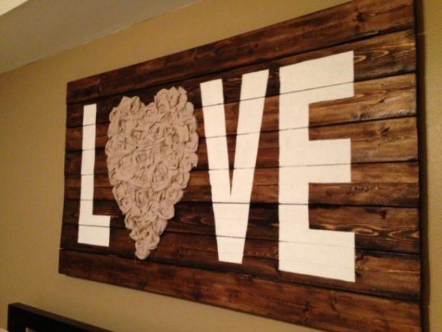 "Rustic Wall Decor Ideas - ""Love"" Wall Art with Reclaimed Wood and Fabric - Cabritonyc.com"