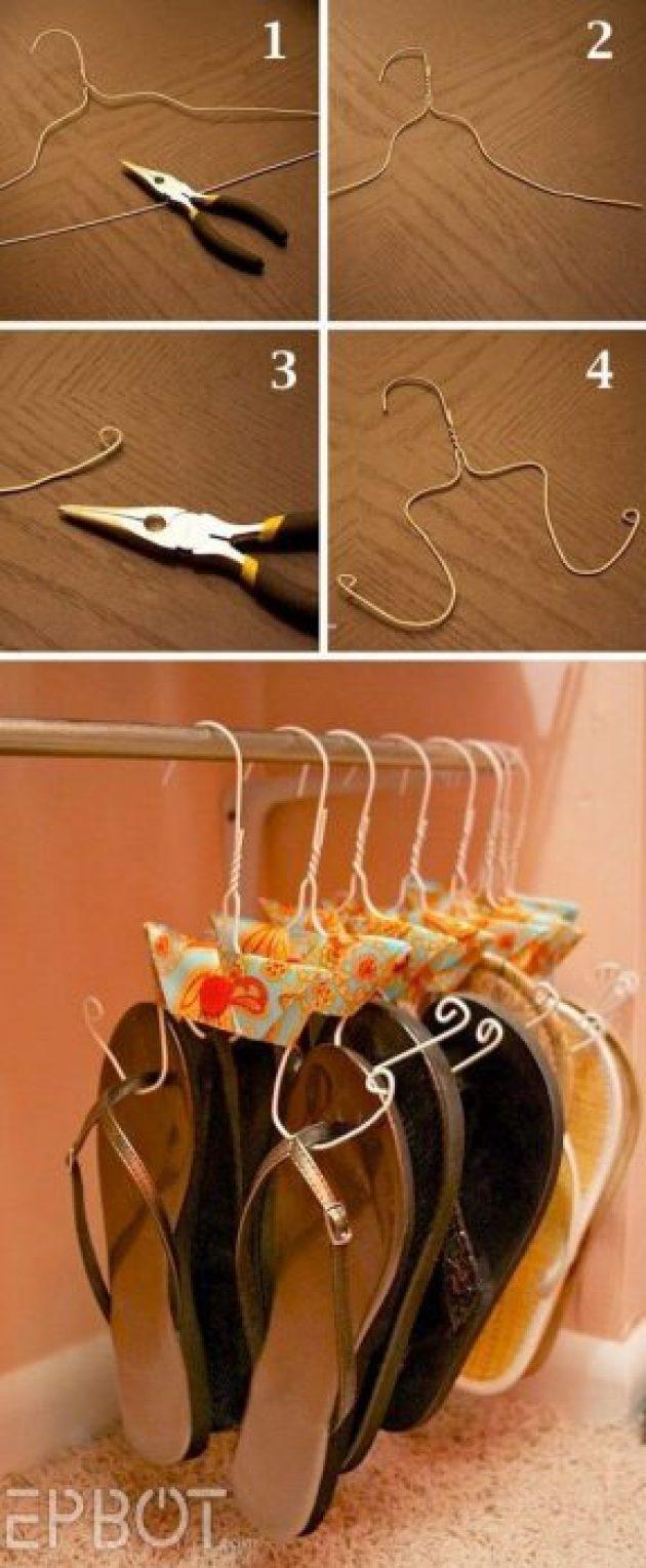 Storage Ideas for Small Spaces - Adorable Hanger Hack for Sandal Storage - Cabritonyc.com