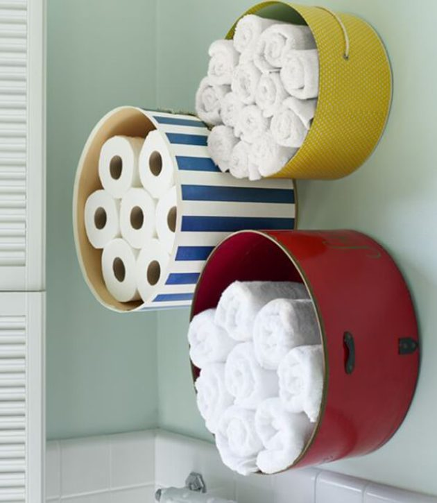 Storage Ideas for Small Spaces - Mount Colorful Hat Boxes for Bathroom Storage - Cabritonyc.com