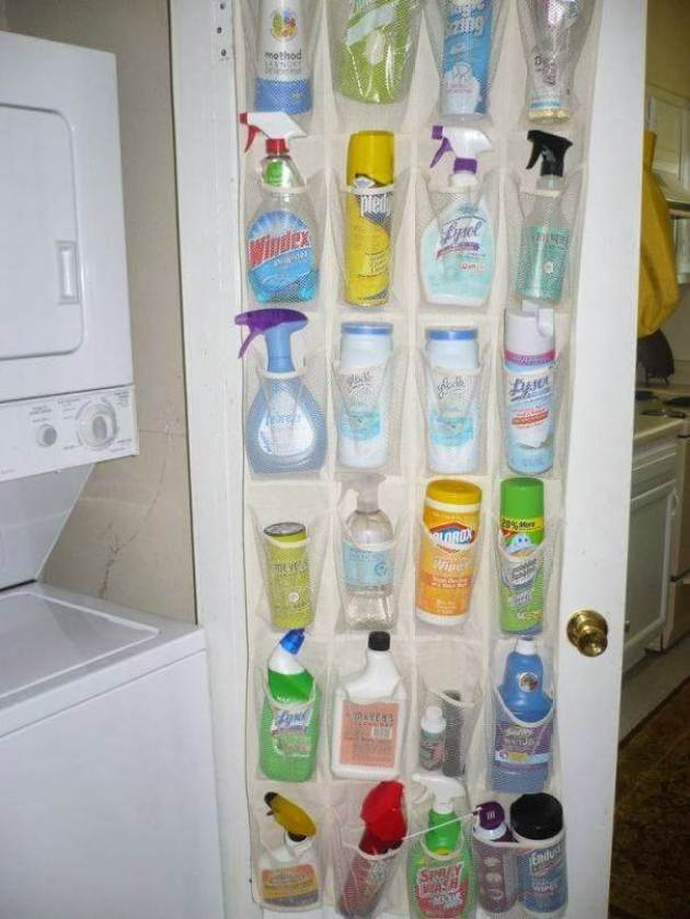Storage Ideas for Small Spaces - Fill a Shoe Organizer with Cleaning Supplies - Cabritonyc.com