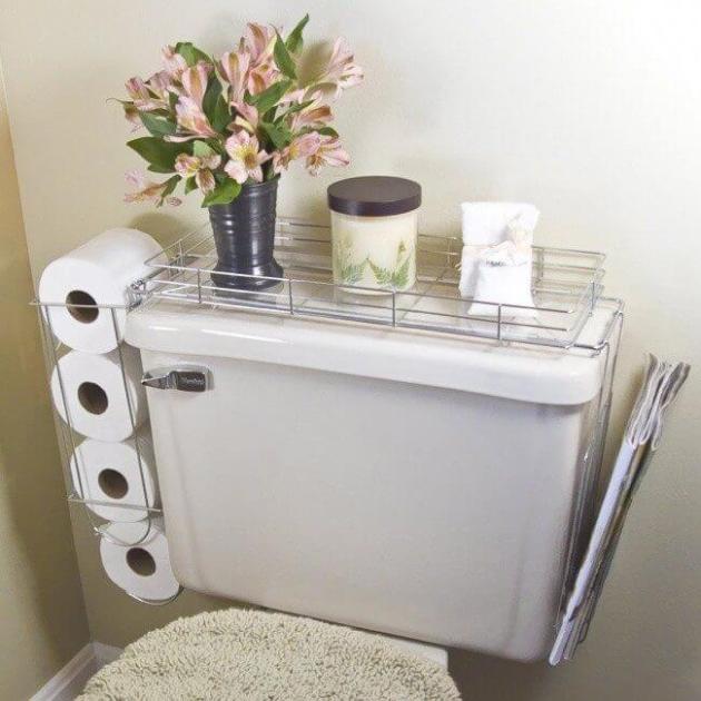Storage Ideas for Small Spaces - Commode Shelf Keeps the Necessities Close By - Cabritonyc.com