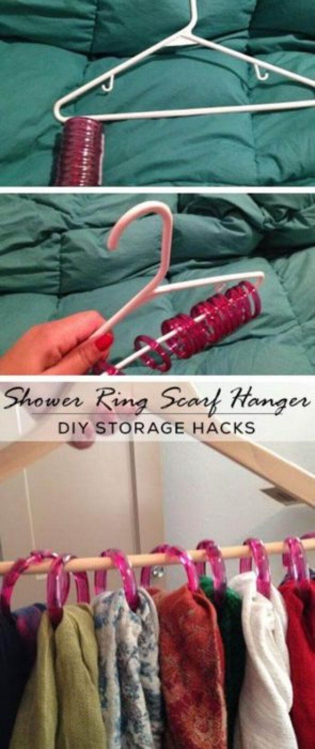 Storage Ideas for Small Spaces - Simple Shower Ring Scarf Storage - Cabritonyc.com