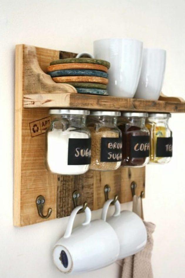 Storage Ideas for Small Spaces - Space-Saving Jars Mounted Under a Shelf - Cabritonyc.com