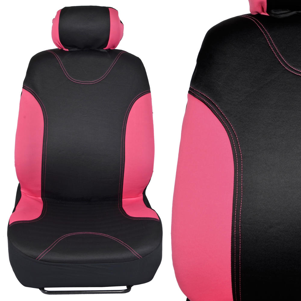 Black & Pink Neocloth Car Seat Covers Rubber Auto Floor