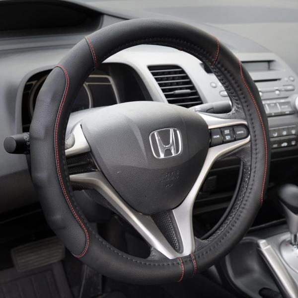 Synthetic Leather Steering Wheel Cover Black With Red Stitching Sport Grip Small