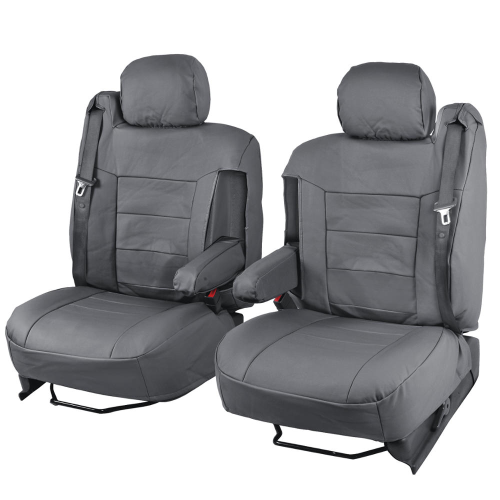 Gray Pu Leather Seat Covers Luxury Leatherette Armrest
