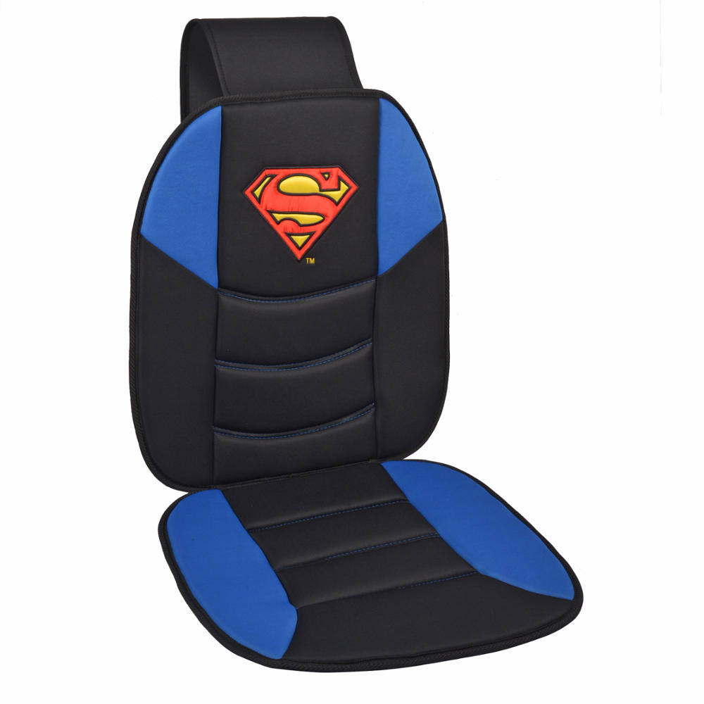 office chair support for upper back covers costco superman seat cushion padded massage car auto home black blue logo | ebay