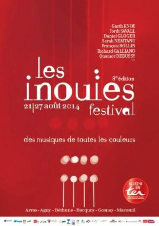 affiche de l'édition 2014 Les Inouies arras