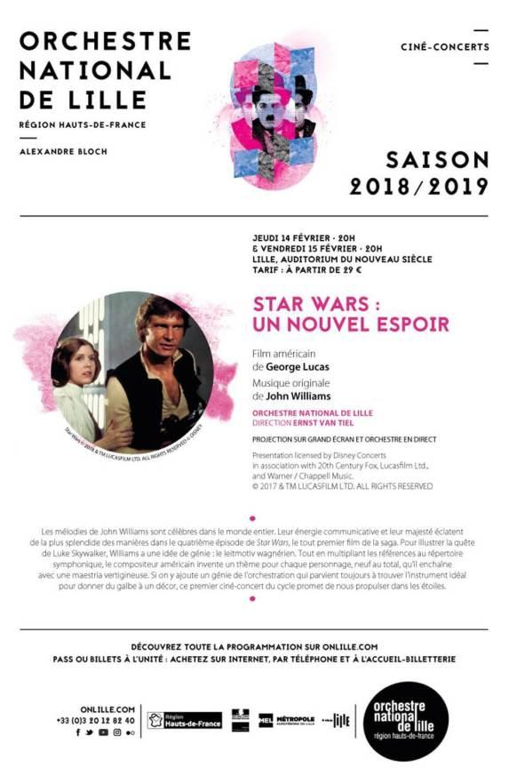 Ciné-concerts Star Wars à l'Orchestre National de Lille en février et mars 2019