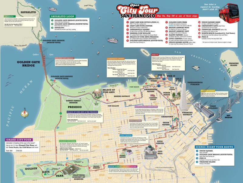 San Francisco Hop On Off Tour Map | Leancy Travel on
