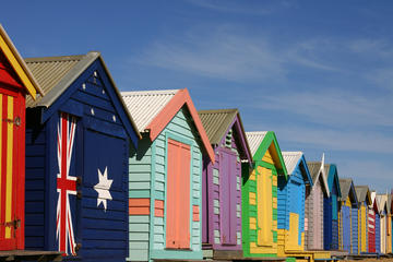 Brighton Beach, at Port Philip famous for its colourful bathing boxes and the Melbourne skyline
