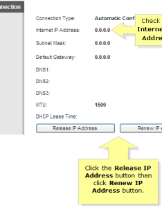 If the internet ip address values are showing up click on release then renew buttons also linksys official support setting  router with cable rh