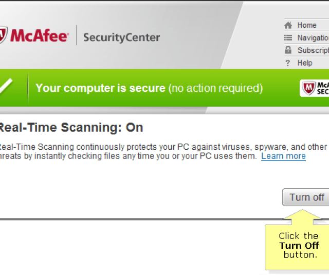 In The Real Time Scanning Status Window Click The Turn Off Button
