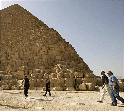 After speaking at Cairo University, President Obama took a tour of the world famous Egyptian pyramids on June 4. Zahi Hawass, the secretary general of the Supreme Council of Antiquities, gave Obama a tour.