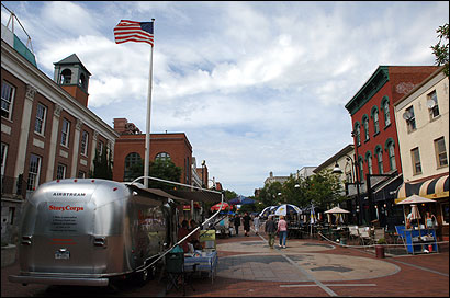 The StoryCorps Airstream trailer sat in front of Town Hall in Burlington, Vt., last month so people could tape their stories.
