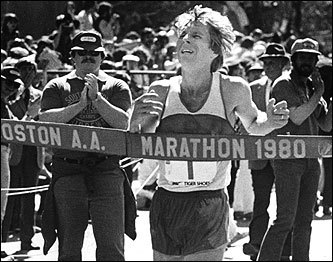 Bill Rogers at Boston marathon 1980