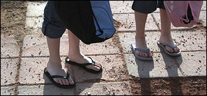 Flip flop flap attracts attention at Westford school